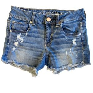 American Eagle Distressed Midi Short- Size 4